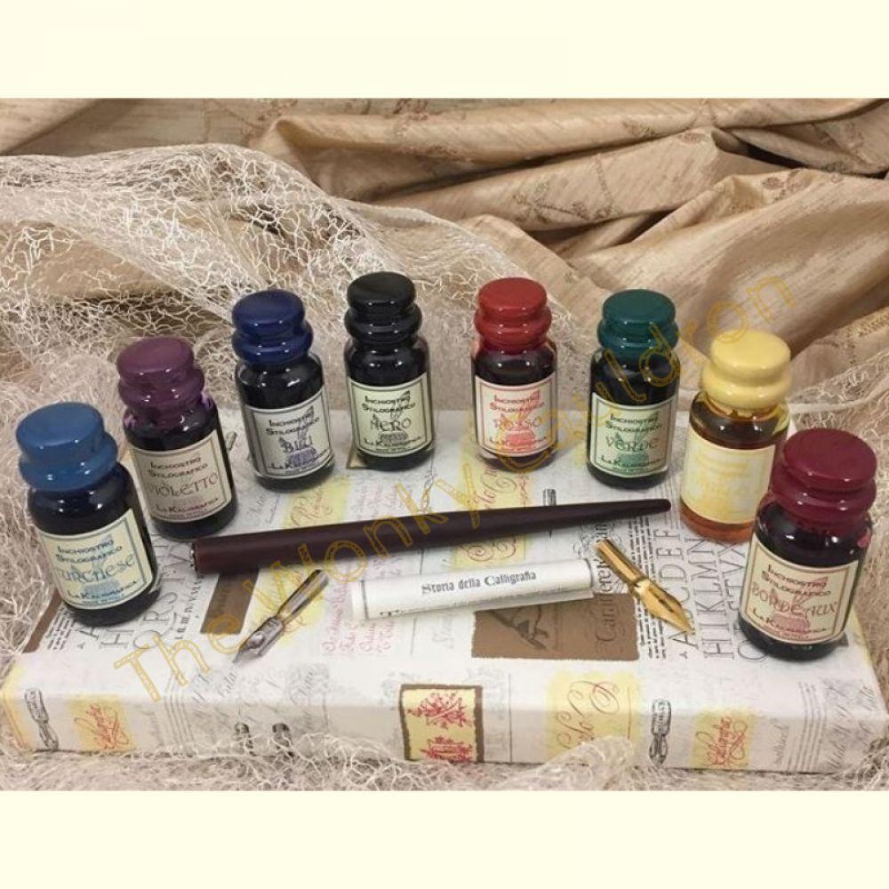 8 Inks & Wooden Pen Set
