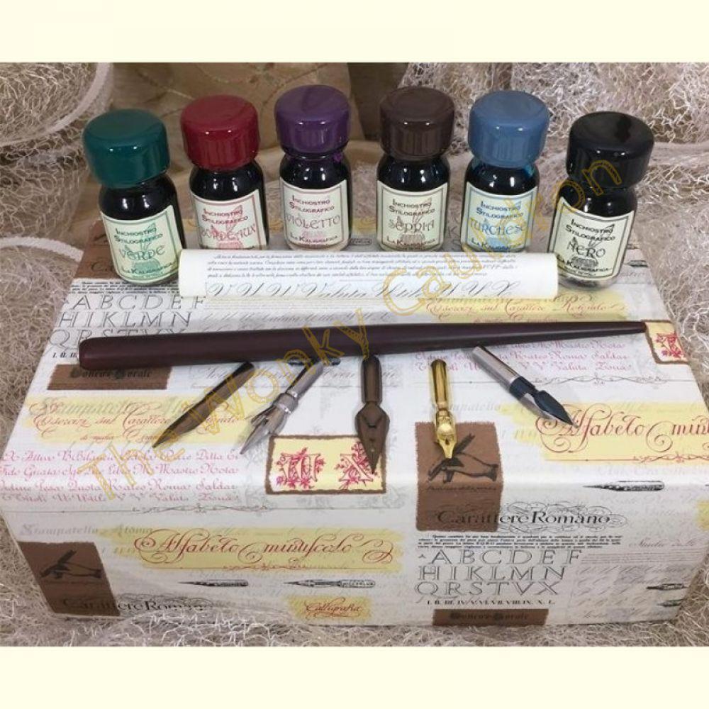 Wood Pen, 5 Nibs & 6 Inks Set