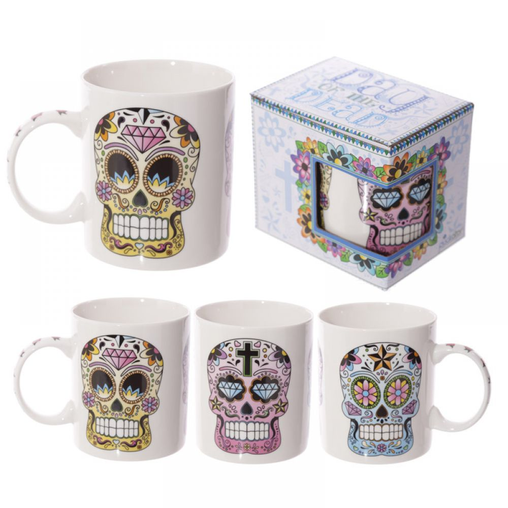 Day of the Dead Skull Bone China Mug