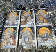 6 x Woodland Yule Cards with Internal Artwork